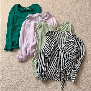 Lot of 4 woven loose professional tops size XS